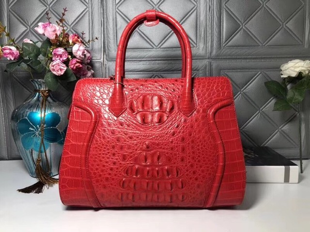 d6eeb9436b Fashion Designer Genuine Alligator Skin Women s Large Black Pink Totes Bag  Exotic Crocodile Leather Female Shoulder