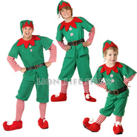 Brand New Men Christmas Halloween Costume Long Sleeve Green And Red Boy Elf Suit Christmas Costume