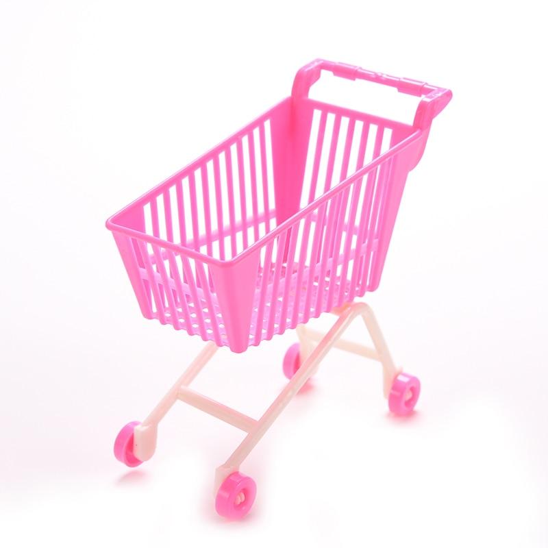 1PCS Random Mini Shopping Cart For Barbie Classic Toys Trolleys for Kids Girls Birthday Gift Dolls Accessories