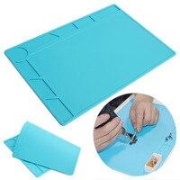 1pc Heat Insulation Pad 34cm 23cm 5mm Mayitr Blue Silicone Desk Mat Maintenance Repair Platform For