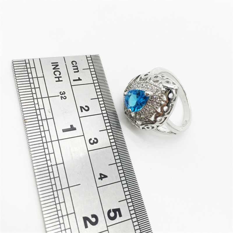 Hollow Tim 925 Sterling Silver Bridal Weddding Trang Sức Set Biển xanh Earrings/Pendant/Vòng Cổ/Vòng Cho Phụ Nữ miễn phí Vận Chuyển