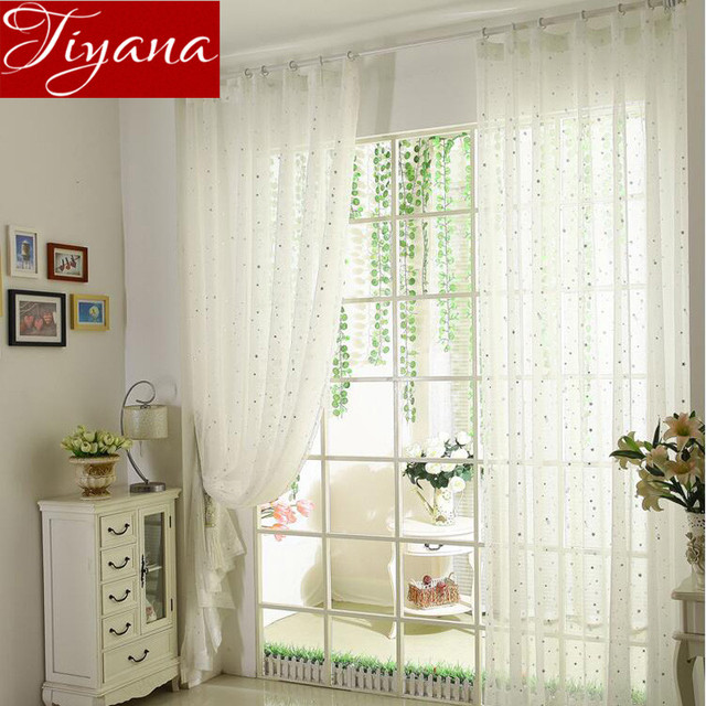 Star Curtains Pure White Screen Yarn Window Curtains Voile Panel For Kids  Bedroom Living Room Balcony