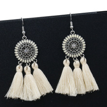 Bohemia Ethnic Long Drop Earring Summer Big Round Tassel Earrings 2019 for Women Fashion Jewelry Dangle Fringe Statement Earring bohemia round fringe dangle earrings