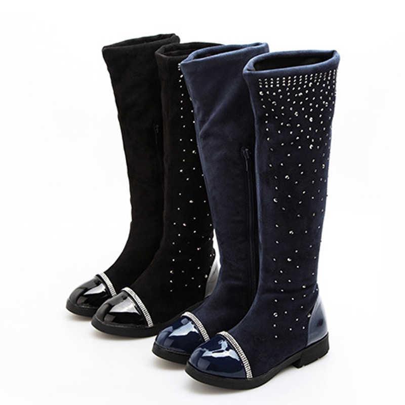 בנות ילדי מגפי שלג אופנה קריסטל באיכות גבוהה צאן רוכסן מגפי ילדי מגפי ילדי חורף 4 צבעים גודל 26-37