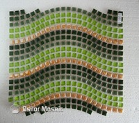 Free shipping waved style glass crystal ceramics mosaic tile for interior house decoration wall tile