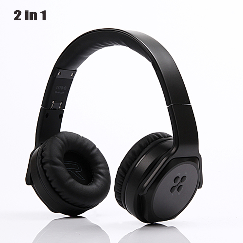 Foldable 2 in 1 Wireless Headphones Bluetooth Speaker Stereo Sport Headset Portable Gaming Big Earphone For Mobile Phones USB PC kz lp5 bluetooth earphone apt x wireless headphone wired bass headset portable foldable headphones 1 2m cable