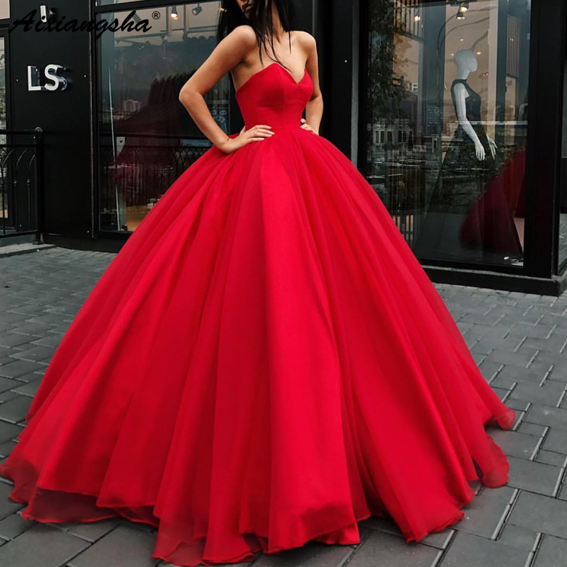 Simple Sweetheart vestidos de graduacion Tull vestido formatura Ball Gown Long Evening Prom Dresses 2019 in Prom Dresses from Weddings Events