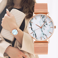 Fashion Rose Gold Mesh Band Creative Marble Female Wrist Watch Luxury Women Quar