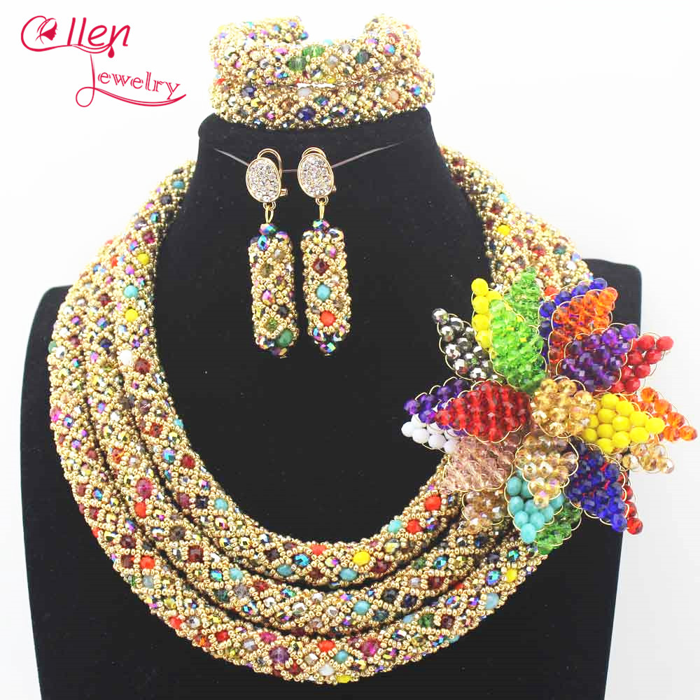 цена Nigerian Wedding beads bridal jewelry sets African Beads Jewelry Sets Handmade statement Necklace Sets Bracelet Earrings N0023 онлайн в 2017 году