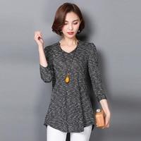High Quality 2017 New Autumn T Shirt Women V Neck Three Quarter Sleeves Plus Size Loose
