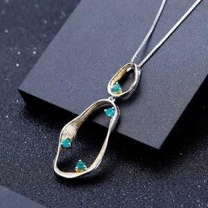 Image 4 - GEMS balet Handmade Twist naszyjnik 925 srebro Fine Jewelry naturalny zielony agat kamienie szlachetne dla kobiet ślub