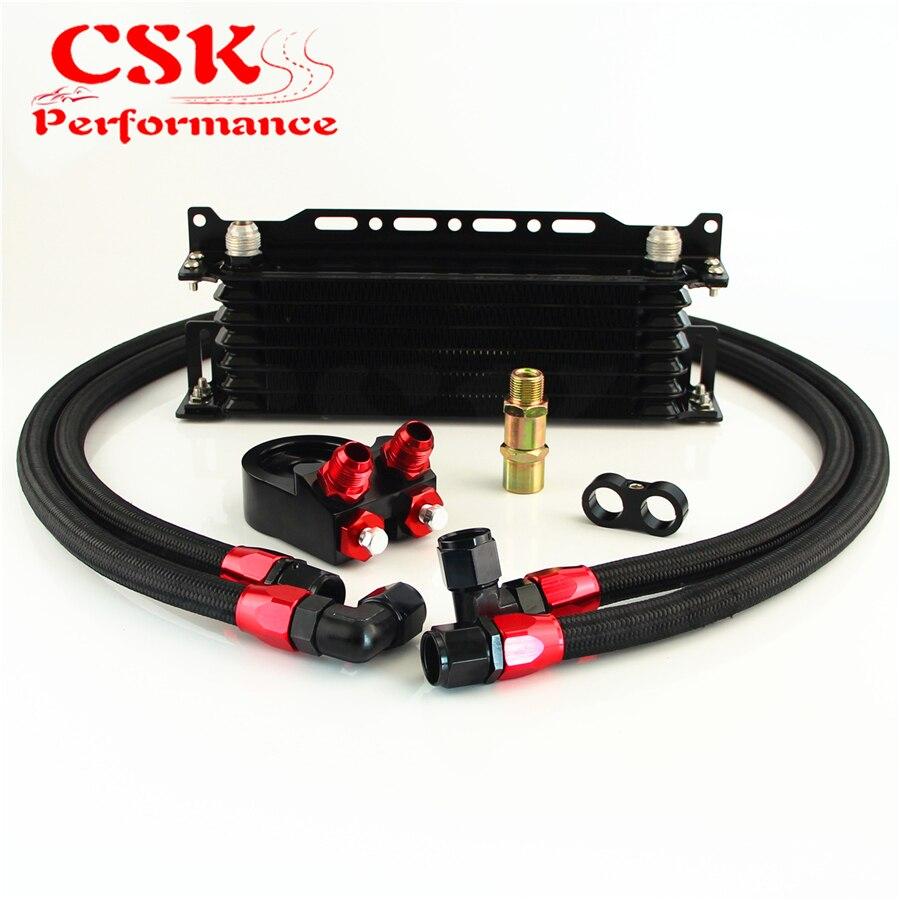 Universale 7 Row Oil Cooler W/Staffa + M20 * 1.5/3/4*16 Filtro Adattatore Tubo Kit su CSKS-Performance Accessories Store
