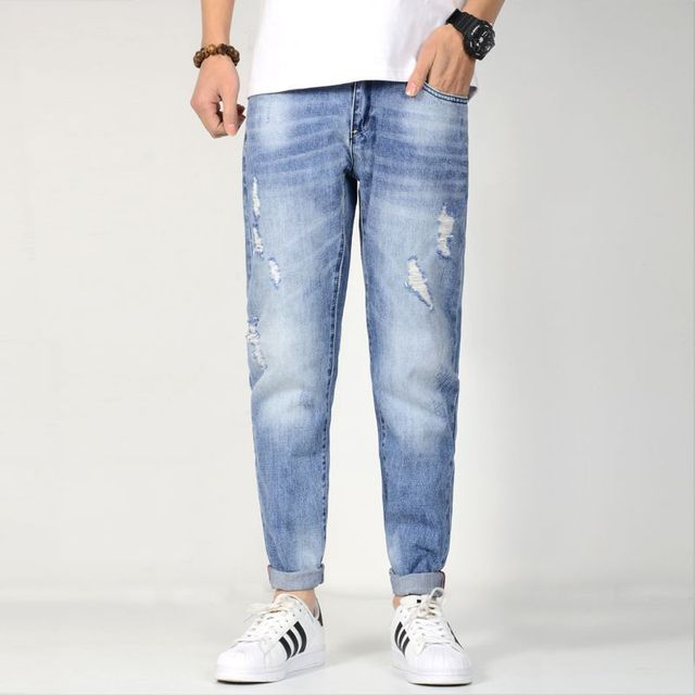 Loose Ripped Jean Men Stretch Pocket Blue Taper Casual Jeans Cotton Hip Hop Denim Jogger Pant Men