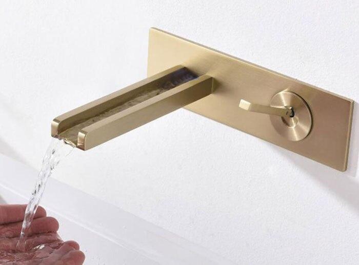Матовый золотой кран, отделка, латунный кран для раковины, водопроводный кран, настенный кран для ванной комнаты, Черный кран BF725