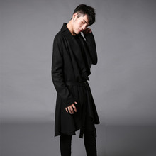 2016 winter men trench coat punk fashion cardigan jacket loose long coat vintage men long windbreaker shawl overcoat F04