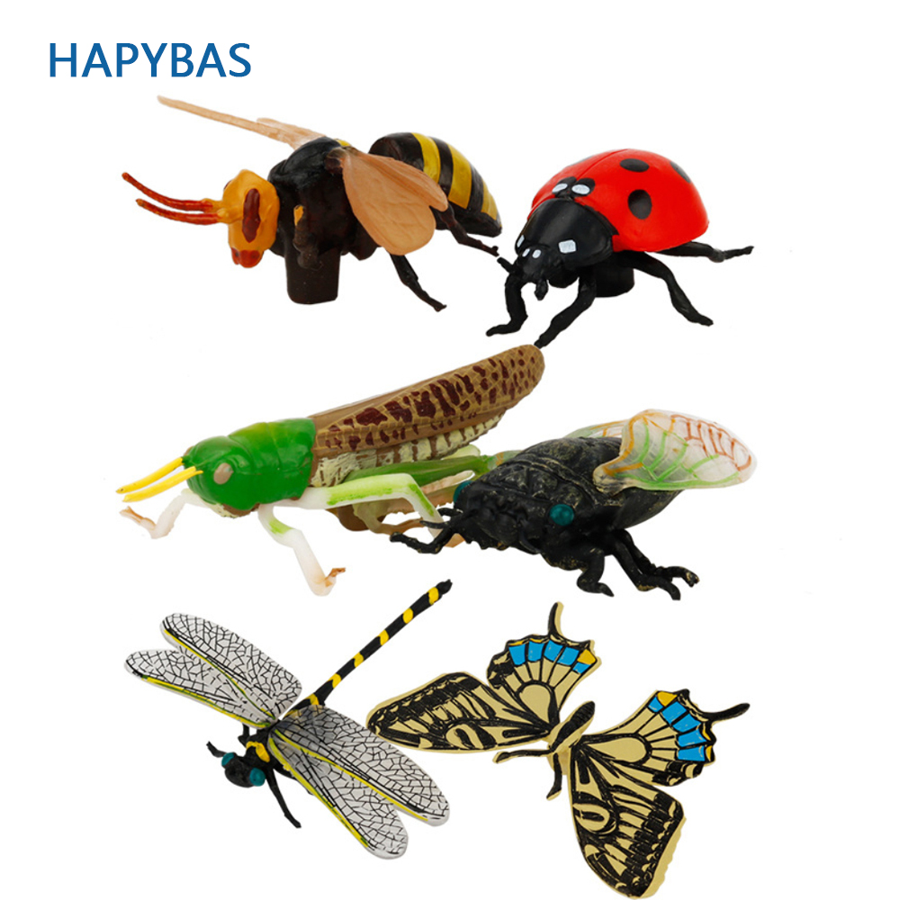6pcs Children's Toys Gift Butterfly Grasshopper Ladybug Bee Toy Insect Collection Models Action Figures Cognitive Education Toys