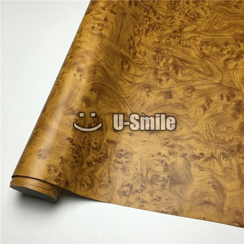 Envoltório de madeira do vinil do filme da textura do olho dos pássaros para a mobília da parede tamanho interior do carro: 1.24x50 m/rolo (4ftx165ft)