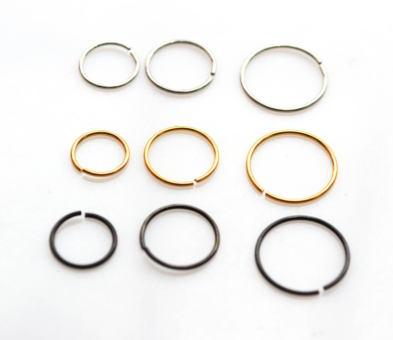 Plain Fake Nose Ring Hoop Clip on Ear Lip Stud Piercing Surgical ...