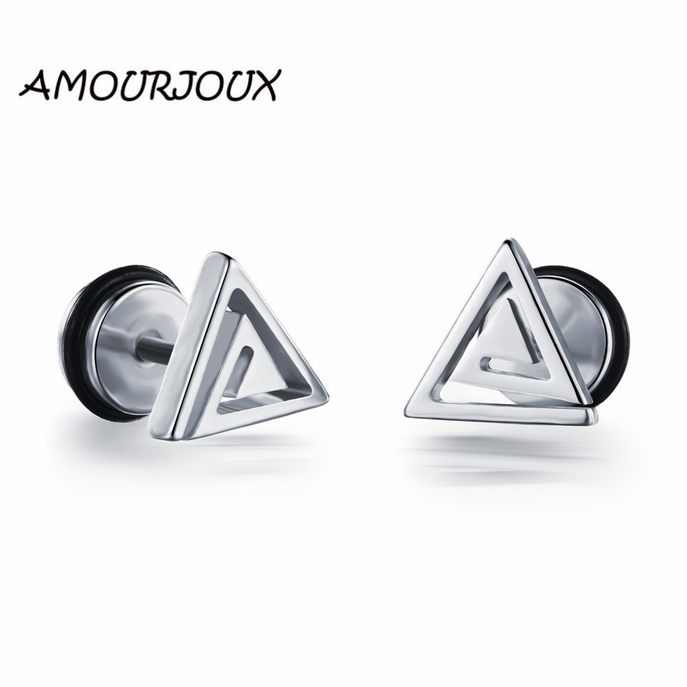 AMOURJOUX Hollowed Triangle Gold White Silver Stainless Steel Male Stud Earrings for Men Studs Earring for Man Boyf