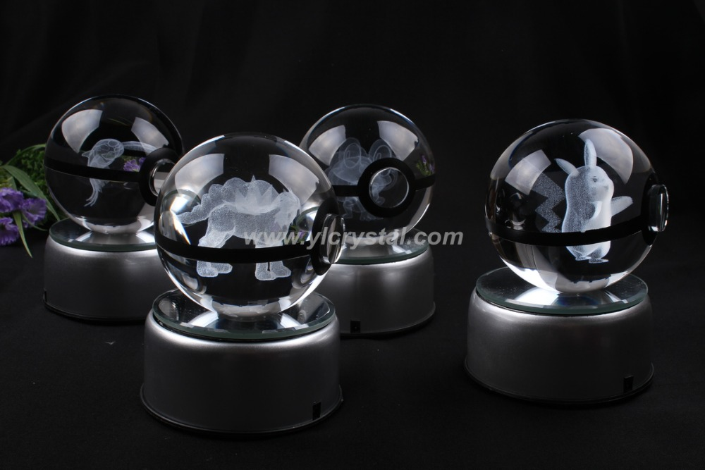 Pokemon Ball New Style Good Quality Crystal Ball With LED Base With Gift Box via dhl