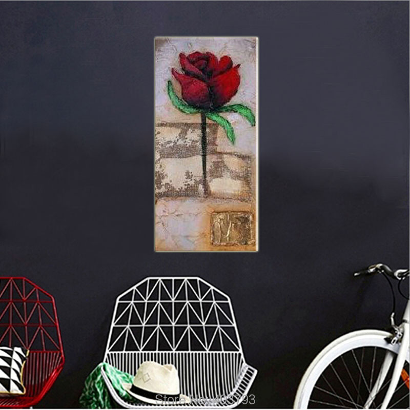 100 Hand Painted Unframed Modern Wall Art quot Red Rosee quot Landscape Oil Painting On Canvas For Living Room Wall Art Home Decor in Painting amp Calligraphy from Home amp Garden