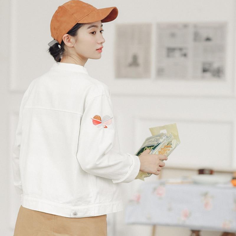 Floral Jacket New Women Harajuku Denim Autumn Female Casual Loose Brand Ladies Outerwear White Coats Embroidery Xx7 Bf Fashion Spring zHBf0q