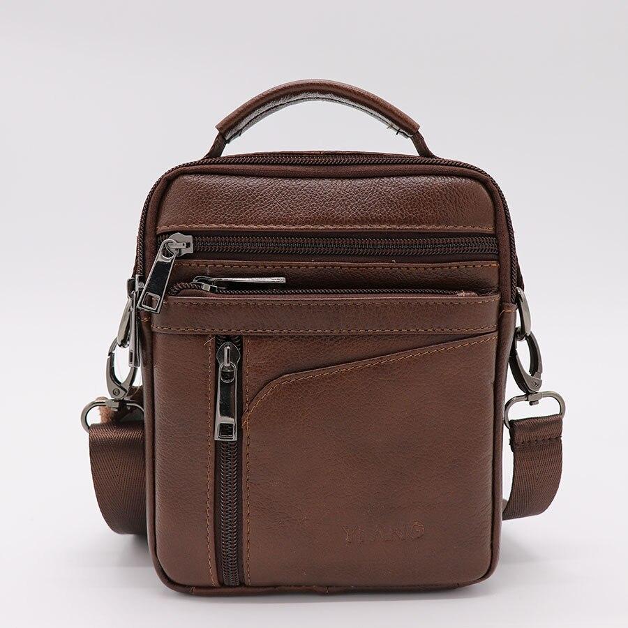 Brand YIANG Genuine Cow Leather Casual&Bussiness Bag Men's Handbag Crossbody Shoulder Messenger Bag Zipper Pack For Travel