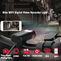 USB HD Bicycle DVR Light 1080P 30fps Wifi Action Camera Bike Front Light Smart Sports Camera 2000mA Waterproof Cycling Headlight