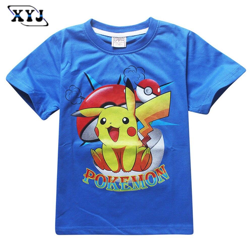 Shirt design boy 2016 - 2016 Fashion New Design T Shirts For Kids Pokemon Pikachu T Shirts Short Sleeve Cartoon