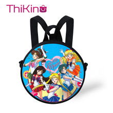Thikin Sailor Moon School Kids Backpack for Girls Round Bags Storage Bag All Over Printed Kids Zipper Schoolbag Small Mochila цена