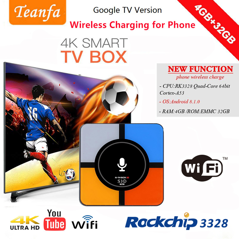 TV Box RK3328 Android 8.1 box tv 4GB 32GB KD 18.0 IPTV Smart Box tv Wifi Google tv 4K H.265 USB3.0 10w Qi Wireless Charger qi wireless universal charger mobile smart night light 10w