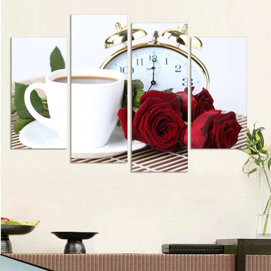4 Panel Müasir Divar Rəsm Qəhvəsi Mətbəx Natiq Ev Ev Dekorativ - Ev dekoru - Fotoqrafiya 2