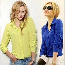 Wholesale and Retail 2017 New Fashion Women's Long-sleeved Chiffon Shirt European and American Women's Shirts Large Size