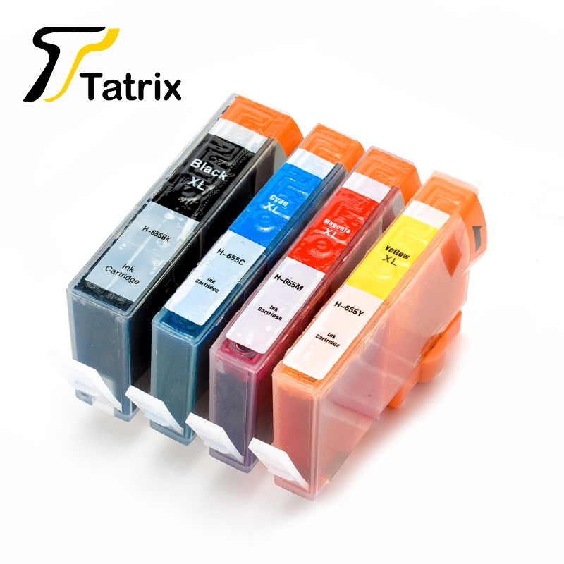 For Hp 655 BK/C/M/Y Compatible Ink Cartridge With Chip For Hp Printer Deskjet Ink Advantage 3525/4615/4625/5525/6520/6525 5colors set high quality 680ml ink cartridge with pigment chip for hp 5000 5500 printer c m y lc lm
