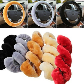Universal DIY Car Auto Winter Warm Soft Plush Furry Elastic Steering Wheel Cover Braid On Steering-Wheel Protector Car-Styling image