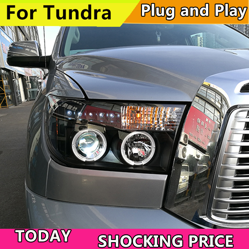 Car Style For Toyota Tundra headlights For Tundra 2007-2013 YEAR Sequoia head lamp DRL front Bi-Xenon Lens Double Beam HID KIT