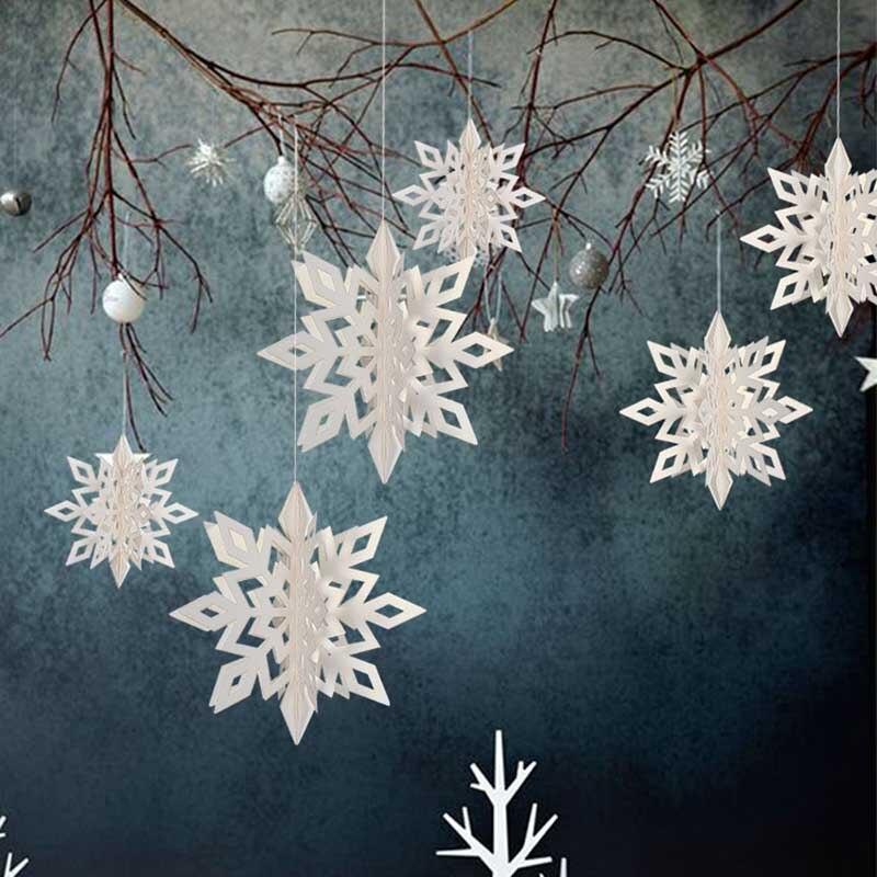 Frozen Christmas Decorations.Us 3 21 27 Off 6pcs 15 20 25cm 3d Snowflake Garland 2020 Christmas Decorations For Home Artificial Snow Pendants Frozen New Year Party Decor In