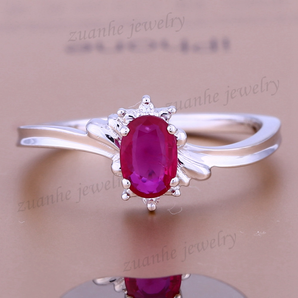 Solid 14k White Gold Elegant Real Diamonds Engagement Wedding Ring Natural Ruby Women Fine Jewelry