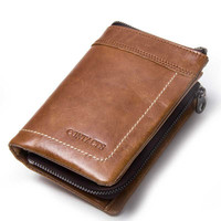 New Retro luxury Genuine Leather Men Wallet Small Men Wallet Zipper Male Short Coin Purse Brand High Quality
