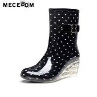 Women Rainboots Fashion Polka Dot Wedge Heel Ankle Boots Waterproof Slip On Shoe Women Transparent High