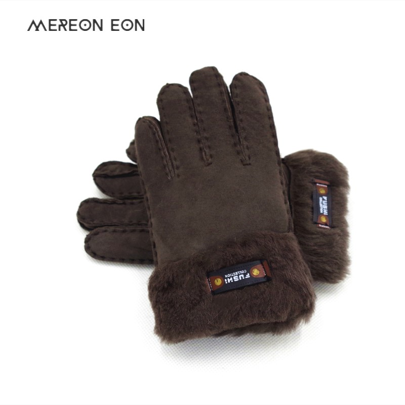 2019 Winter Children's Natural Wool Leather Hand Stuffed Fur Gloves Thick And Warm Hands Sewn Wool-Lined Leather Gloves