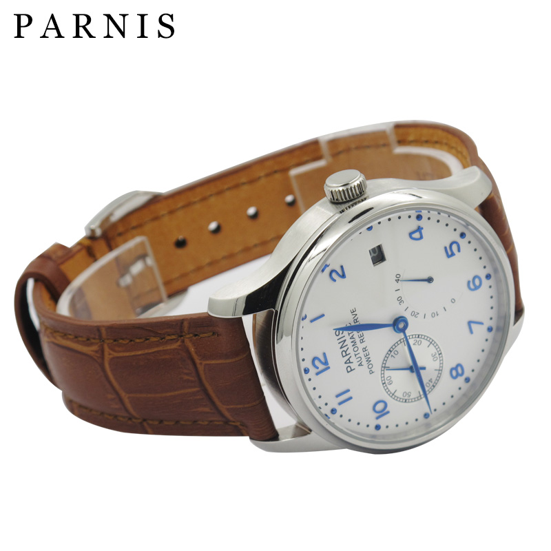 PARNIS Men Watch Automatic Power Reserve 43mm Luxury Brand Brown Leather Mechanical Watches White Dial Waterproof Hour Clock  casual 43mm parnis automatic power reserve white dial blue numbers silver watch case business watch men