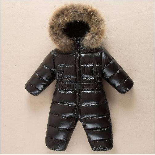Winter warm baby rompers Jumpsuit Children duck down overalls Snowsuit toddler kids boys girls fur hooded romper costume clothes молния для одежды qw 5pcs 9 q0012
