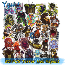 50 Pcs Mixed Terror Stickers for Luggage Laptop Skateboard Bike Motorcycle Car Styling Decals PVC Cool Waterproof Sticker