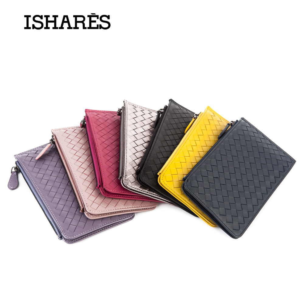 ISHARES Fashion Genuine Leather Women Weave Wallets Card & ID Holders Colors Zipper Credit Card holder Purses IS6015 top brand genuine leather wallets for men women large capacity zipper clutch purses cell phone passport card holders notecase