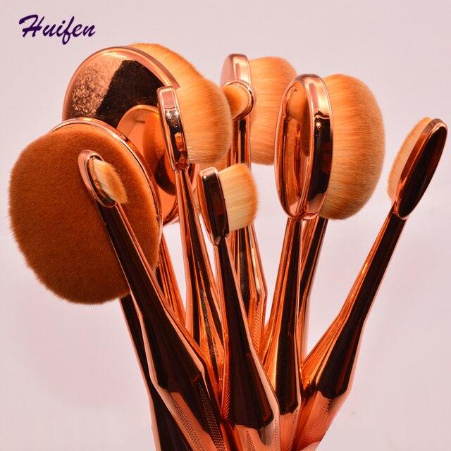 10 unids Oval Pinceles de Maquillaje Rubor En Polvo Crema BB Herramientas De Belleza de Alta Calidad de Lujo de Oro Rosa compone el Cepillo (YY0213)