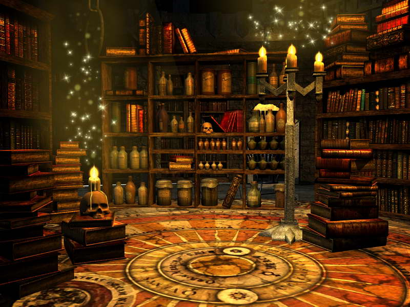 10x10ft Library Room Skull Halloween Candles Books Shelf