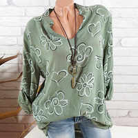 Big Shirt Fashion Blouse Women Plus Size Long Sleeve Print Stand Collar Button Pullover Tops Shirt Sexy Office Lady Blusas