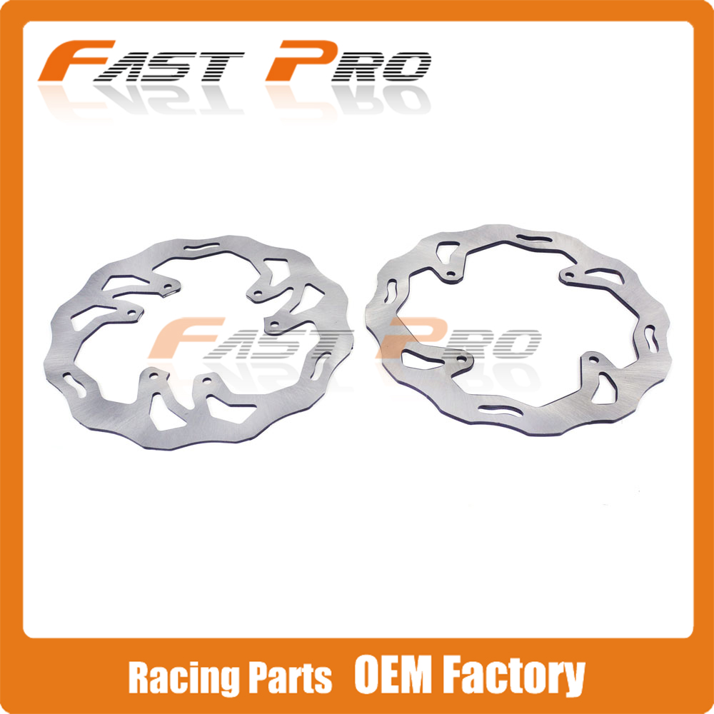 Front Rear Wavy Brake Disc Rotor Set For HONDA CR125 CR250 CRF250R CRF250X CRF450R CRF450X Motocross Enduro цена