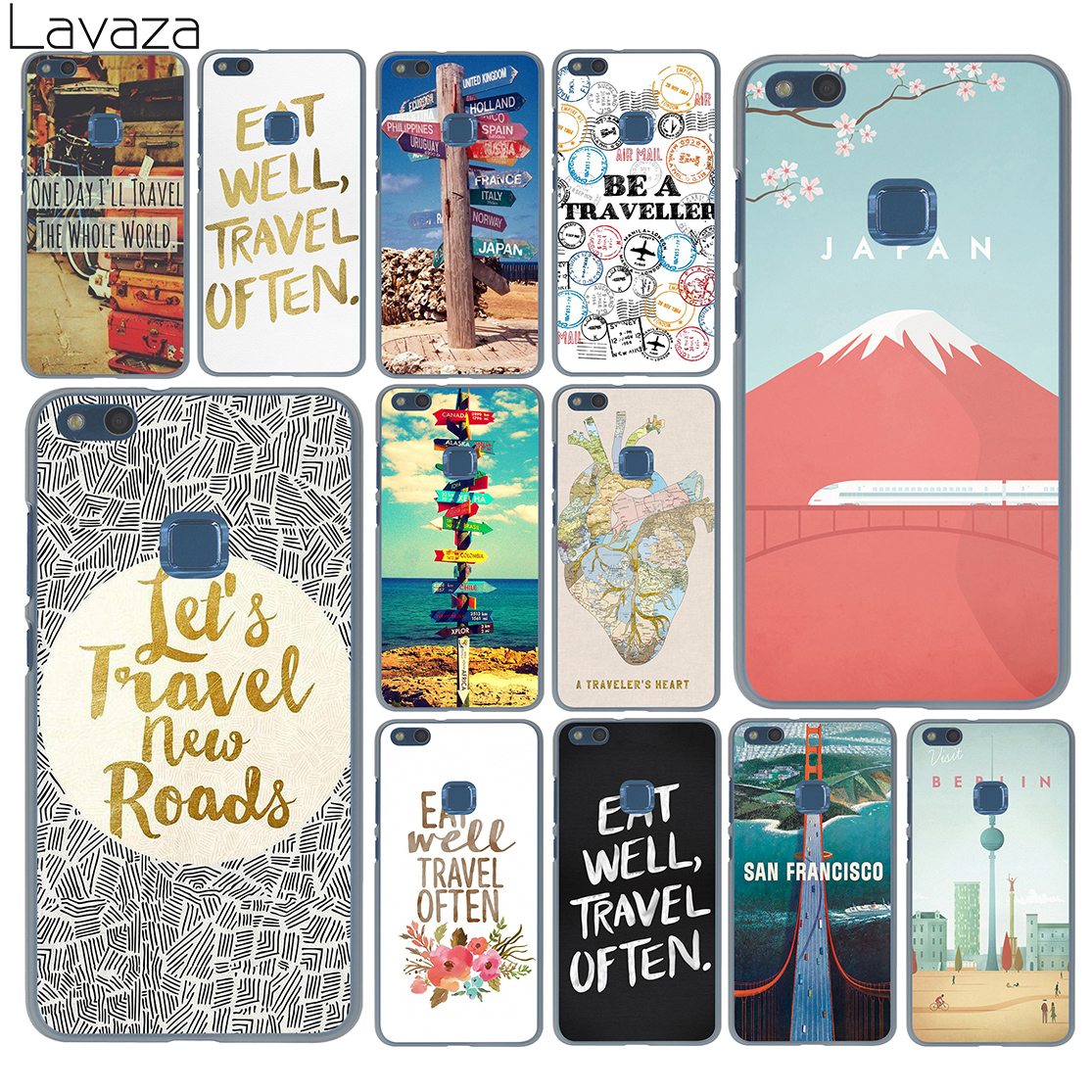 Lavaza eat well travel often poster signpost I ourneys Case for Huawei P20 P10 P9 Plus P8 Lite Mini P smart Mate 10 9 Pro Lite ...